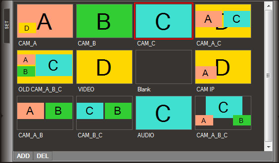 SET panel configured with various templates.